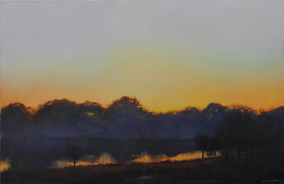 Sofa Size Painting - White Rock Lake Dusk Sold by Cap Pannell