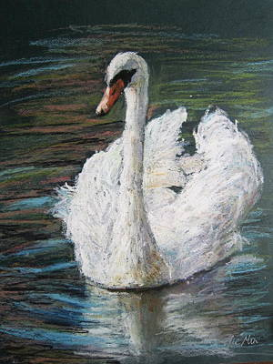 Art Print featuring the painting White Swan by Jieming Wang