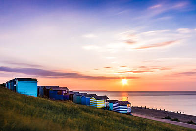 Whitstable Beach Huts. Print by Ian Hufton