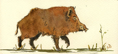 Pig Wall Art - Painting - Wild Boar by Juan  Bosco