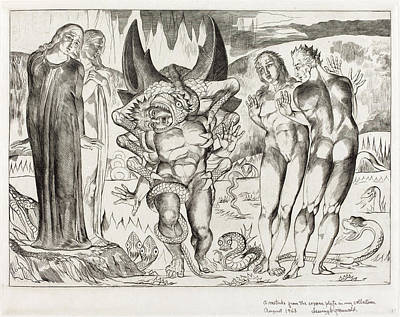 Blake Drawing - William Blake, British 1757-1827, The Circle Of The Thieves by Litz Collection