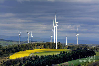 Turbines Photograph - Wind Turbines by Bernard Jaubert
