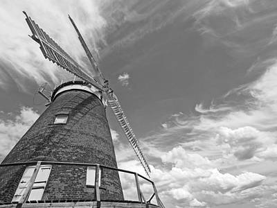 Photograph - Windmill In The Sky In Black And White by Gill Billington