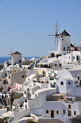 Photograph - Windmills And White Houses In Oia by George Atsametakis