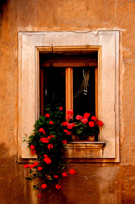 Window And Flowers Rome Italy  Art Print