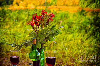Wine And Flowers Art Print by Les Palenik
