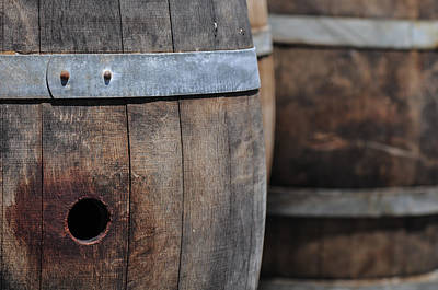 Cask Photograph - Wine Barrels In A Cellar by Brandon Bourdages