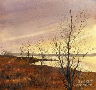 Sepia Painting - Winter At Lake Wilson by Lynne Wright