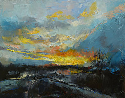 Impasto Oil Painting - Winter Evening by Michael Creese
