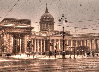 The Church Mixed Media - Winter In Peterburg by Yury Bashkin