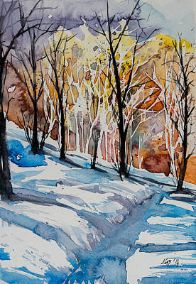 Winter Landscape Painting - Winter by Kovacs Anna Brigitta