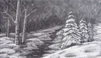 Drawing - Winter Scene by Patricia Januszkiewicz