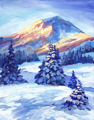 Winter Sunset  Art Print by Peggy Wilson