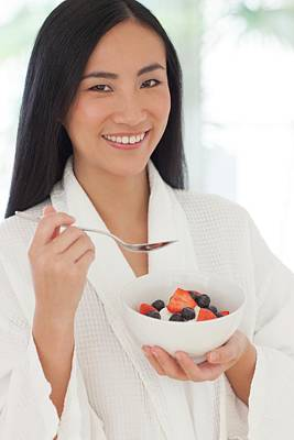 Woman Holding Bowl Of Fruit Art Print