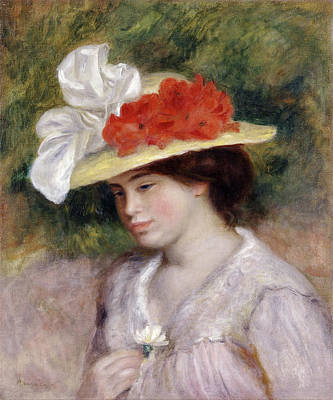 Woman In A Flowered Hat Renoir Painting - Woman In A Flowered Hat by Pierre-Auguste Renoir