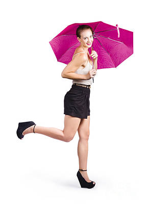 Woman With Umbrella Art Print by Jorgo Photography - Wall Art Gallery