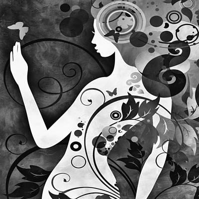 Digital Art - Wonder Bw by Angelina Vick