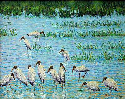 Wood Stork Discussion Group Art Print by Dwain Ray