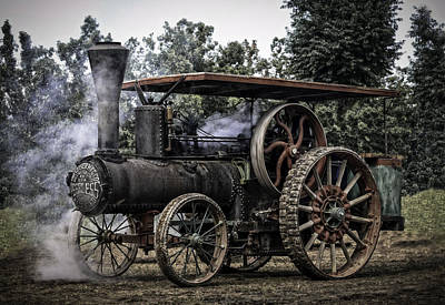 Keck Photograph - Wood Wheeled Geiser Peerless Steam Tractior by F Leblanc
