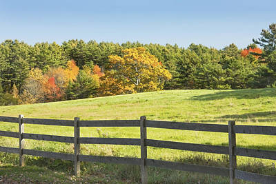 Photograph - Wooden Fence In Autumn Maine Farm Pasture by Keith Webber Jr