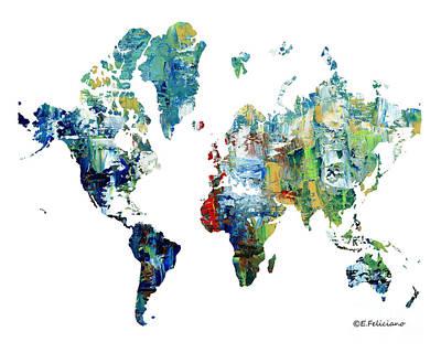 Painting - World Atlas  by Elena Feliciano