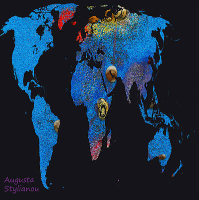 Golds Reds And Greens Digital Art - World Map And Cancer Constellation by Augusta Stylianou