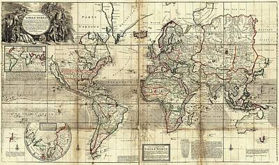 Maps Photograph - World Map by Library Of Congress, Geography And Map Division