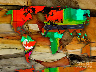 World Map Mixed Media - World Map Watercolor by Marvin Blaine