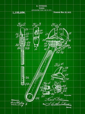 Hex Digital Art - Wrench Patent 1915 - Green by Stephen Younts