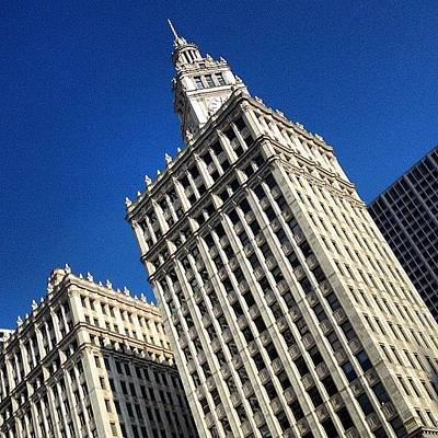Light Photograph - Wrigley Building- Chicago by Mike Maher
