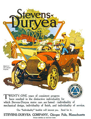 Photograph - Stevens Duryea Automobile by Vintage Automobile Ads and Posters