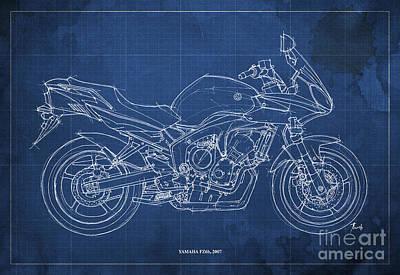 Homedecor Drawing - Yamaha Fz6b 2007 by Pablo Franchi