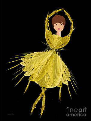 Digital Art - 2 Yellow Ballerina by Andee Design