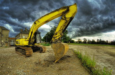Machinery Photograph - Yellow Excavator by Jaroslaw Grudzinski