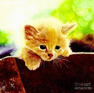 Watercolor Pet Portraits Painting - Yellow Kitten by Hailey E Herrera