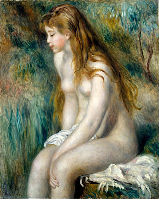 Young Girl Bathing Painting - Young Girl Bathing by Pierre-Auguste Renoir
