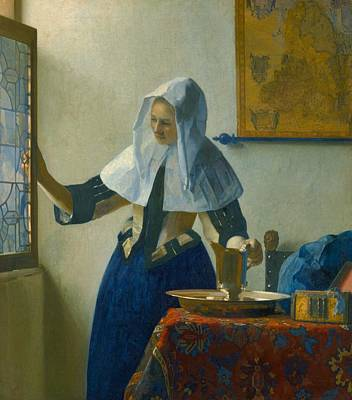 Old Pitcher Painting - Young Woman With A Water Pitcher by Johannes Vermeer