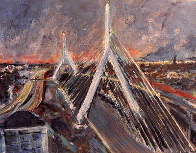 Boston Light Painting - Zakim Twilight by Romina Diaz-Brarda