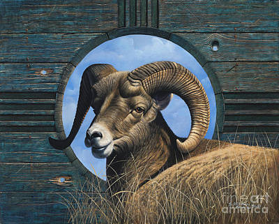 Mountain Goat Painting - Zia Ram by Ricardo Chavez-Mendez