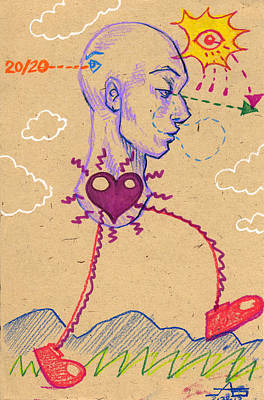 Art Print featuring the drawing 20 20 Hindsight  by John Ashton Golden