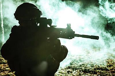 Photograph - Black Silhouette Of Soldier by Oleg Zabielin