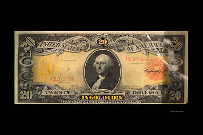 20 Dollar Us Currency Pay In Gold Coin Bill Art Print by Thomas Woolworth