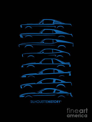 Cars Digital Art - Ford Mustang Silhouettehistory by Gabor Vida