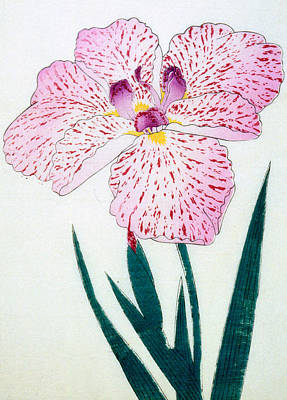 Green Color Painting - Japanese Flower by Japanese School