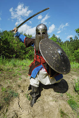 Photograph - Mongol Horde Warrior In Armour, Holding by Oleg Zabielin
