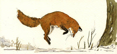 Signed . Nature Painting - Red Fox by Juan  Bosco