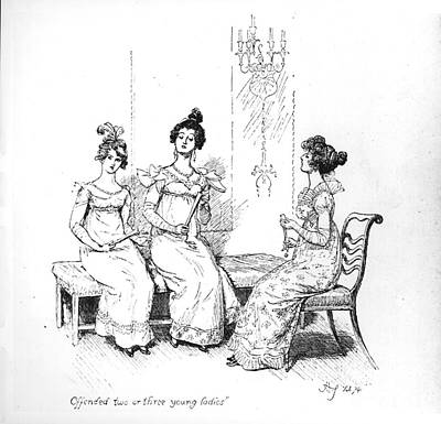 Chatting Drawing - Scene From Pride And Prejudice By Jane Austen by Hugh Thomson