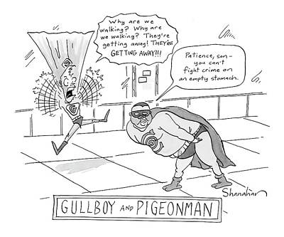 Super Heroes Drawing - New Yorker February 19th, 2007 by Danny Shanahan
