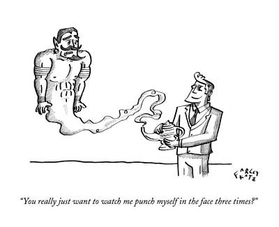 Punch Drawing - You Really Just Want To Watch Me Punch Myself by Farley Katz