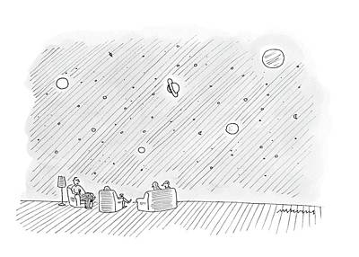 Outer Space Drawing - New Yorker August 25th, 2008 by Mick Stevens